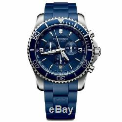 Victorinox Chrono Maverick Blue Dial Link Style Rubber Band Men's Watch 241690