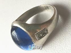 Vintage English Gypsy Style Blue Crystal Cabochon Stone Sterling Silver Ring