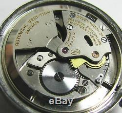 Vintage Gruen Stainless Steel Bumper Automatic Military Style Mens Watch 1940s