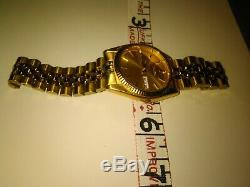 Vintage Seiko 7N43-8111 Men's Presidential Style Gold TONE Watch NEW BATTERY