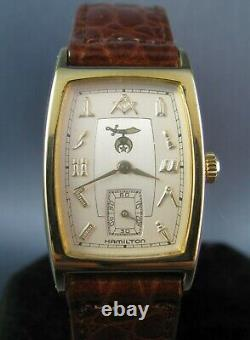 Vintage Style Hamilton Masonic Dial Gold Plated Mens Watch Registered Edition
