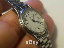 Vintage Tiffany Stainless Steel Railroad Style Quartz Ladies Watch
