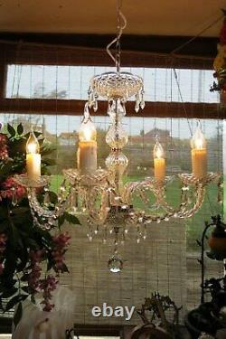 Vintage french style glassand crystal chandelier