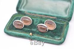 Vintage styled Sterling silver cufflinks with a Smoky Quartz insert