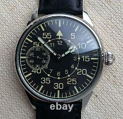 WATCH MEN'S MILITARY STYLE WRIST CONVERTED from MOLNIJA MOVEMENT 3602 SERVICED
