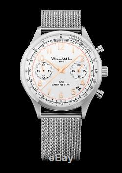 William L. 1985 Quartz Watch Vintage Style Chronograph Stainless Steel Mesh Band